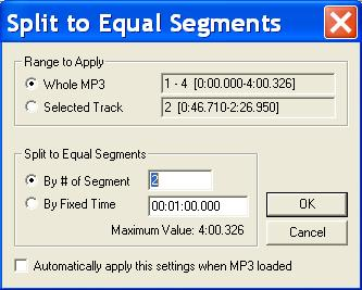 MP3 Splitter - Split to Equal Segments